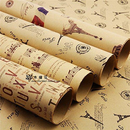 Carta da regalo effetto vintage, con design in stile giornale, per impacchettare regali di Natale, 5rotoli in diversi design, misure doppie: lunghezza 75 cm x larghezza 51cm