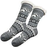 Warme Hüttensocken mit Anti-Rutsch Sohle - Rentier Grau Winter-Socken Für Damen, 36-41