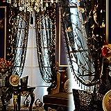 Tulle Texture Semi Trasparenti Le Tende Elegante Stile Europeo per Il Salone Balcone Geometrica Reticolo Stampa Voile Tende-Nero 200x270cm(79x106inch)