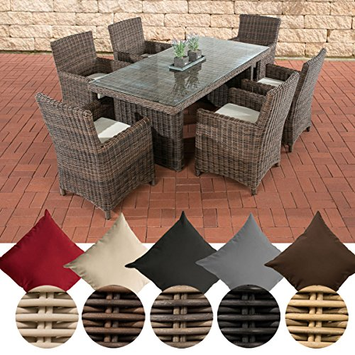 CLP Polyrattan Sitzgruppe Fontana inkl. Polsterauflagen | Garten-Set: EIN Esstisch mit Glasplatte und sechs Stühle erhältlich Bezugfarbe: Cremeweiß, Rattan Farbe braun-meliert (Stühle Sechs)