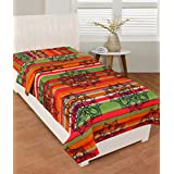 BSB Trendz Cotton Rust & Green Clour With Spider Net Single Bedsheet Without Pillow Cover GSM-150 To 180, TC-180 Size-90x60 Inches