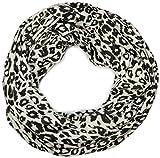 styleBREAKER fular de tubo de punto fino con estampado de leopardo, chal de leopardo 01012009, color:Blanco