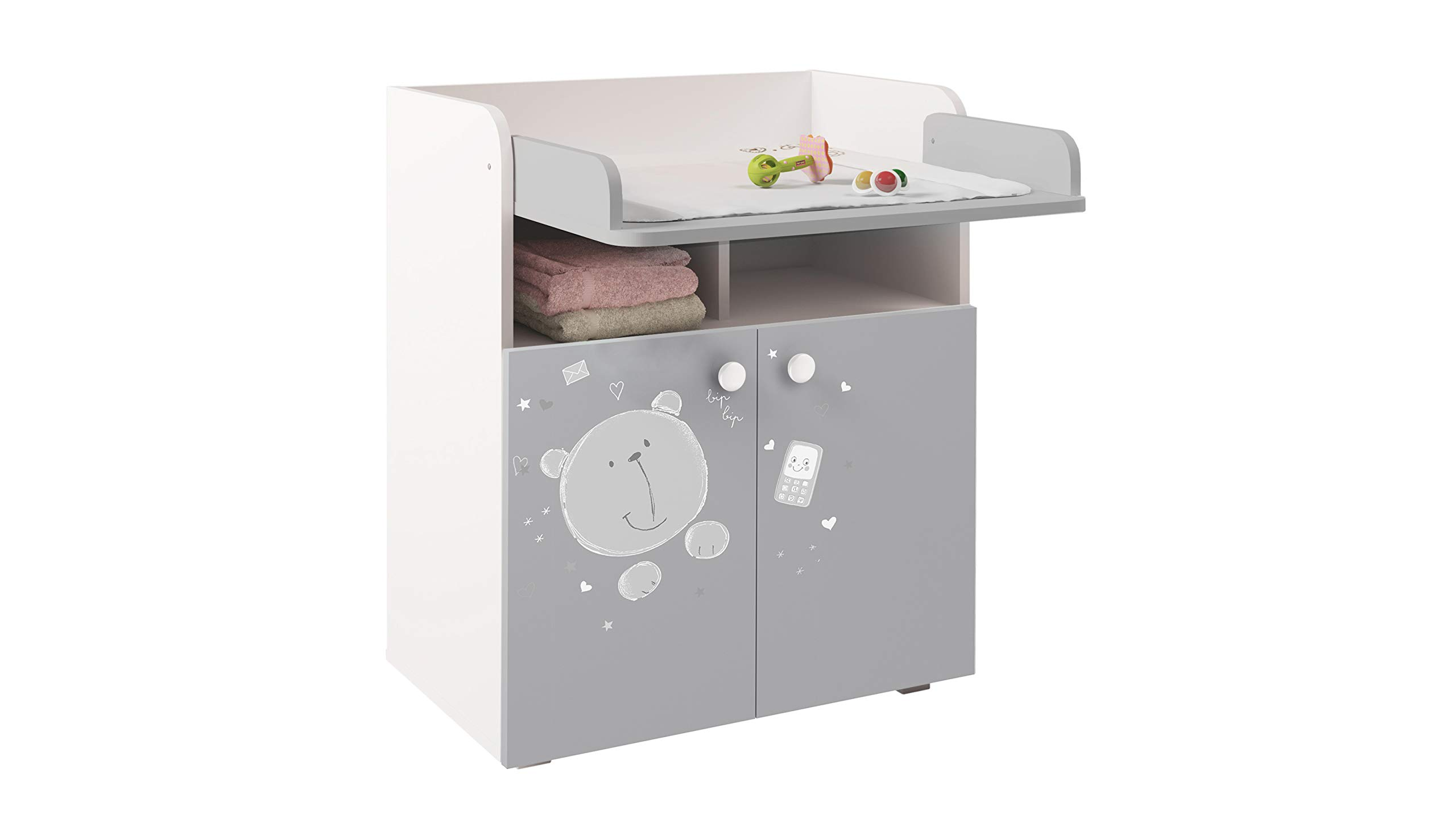 Polini French, Drawer Unit 1270, Teddy Print, White/Grey Kidsaw Dimensions (LxWxH): 47 x 70 x 86 cm French design Detachable changing mat leaves no marks on the dresser 2