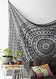 Lali Prints Wandteppich, Hippie-Design, schwarz und weiß, Elefant, Mandala, traditioneller indischer Überwurf, 1weißer Kissenbezug, Wandteppich/Tagesdecke