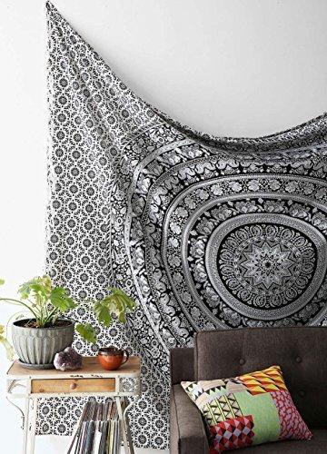 Lali Prints Hippie schwarz und weiß, Tapisserien Elefanten Mandala Hippie, Gobelin, traditionell indisch Beach Plaid Studentenwohnheim Überwurf, Boho Bohemian Stickset für Wandbild Königin-Tagesdecke