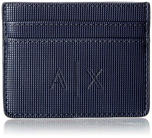 Armani Exchange Herren Credit Card Holder Geldbörse, Blau (Navy), 8.0x0.4x10.0 cm