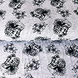 Totenkopf Jersey Stoff–Skulls grau–Jersey Stoff–hem23–von 0,5m–95% Baumwolle 5% Lycra Stretch Jersey Stoff