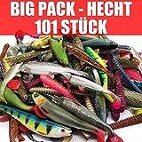 Jackson 101 Stück Gummifische Set Kunstköder XXL - Hecht Angeln 12,5-18cm - Angelset