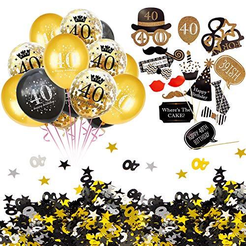 Geburtstag Party Feier Deko Set - Happy Birthday 40 Konfetti Luftballons Set + Fotorequisiten Fotoaccessoires + Konfetti Zahl 40 + Sterne Gold Silber Schwarz Mix ()