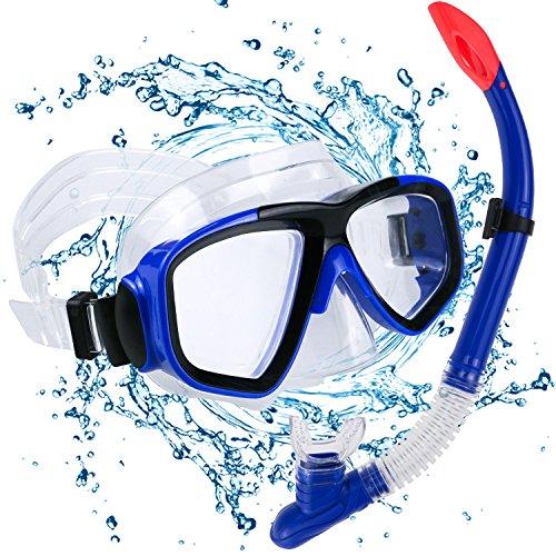 Philonext Set per Snorkeling, Diving Snorkeling Maschera per apnea Snorkeling con boccaglio in silicone alimentare, lente in vetro temperato di maschera per snorkel, vista cristallina e cinturino regolabile per lo snorkeling, immersioni subacquee