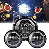 Ein Leuchtturm rund 7Zoll und 2LED LAMPEN Nebel Nebelscheinwerfer Scheinwerfer 4.5Zoll mit Rote Augen Dämon DRL Weiß Blinker Bernstein Licht für die Motorrad Harley Davidson