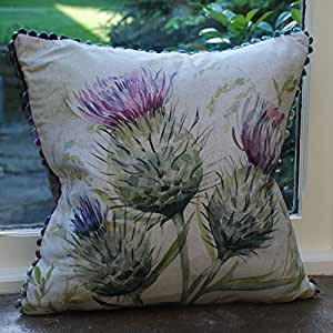 Voyage Maison Thistle Glen Linen Print Cushion | Scottish Thistle Cushion | Duck Feather Cushion | Highland Thistle | Tweed Cushion | Tartan Cushion by Voyage Maison