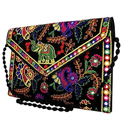 Craft Trade Womens Cotton Rajasthani Design Cross Body Traditional Embroidered Envelope Style Clutch Sling Bag Side Bags for Girls