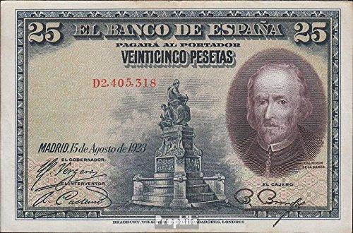 Spanien Pick-Nr: 74b gebraucht (III) 1928 25 Peseten (Banknoten für Sammler) -