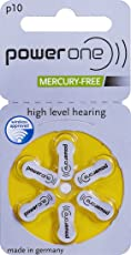 Power One P10 Hearing Aid Battery, 60 Pieces (Multi Color)