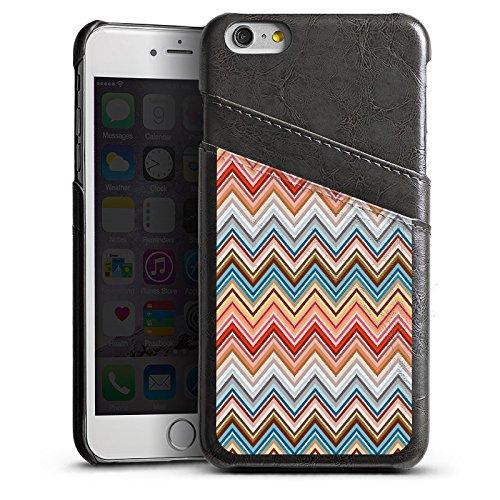 Apple iPhone 5s Housse Étui Protection Coque Zigzag Rétro Motif Étui en cuir gris