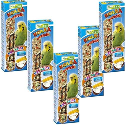 Nestor Mangeoire à oiseaux perruches avec banane + Coco–lot de 5x 2Stix Sticks