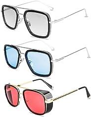 Tony Stark Sunglasses Retro Aviator Sunglasses Square Metal Frame Iron Man Sunglasses