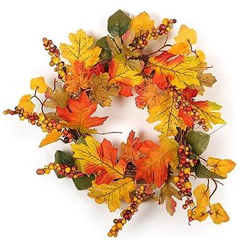 Symboat Halloween Props Leaf Wreath Automne /Érable Citrouille Berry Garland Porte Dentr/ée D/écoration Murale