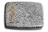 Generic Grabplatte, Grabstein, Grabkissen, Urnengrabstein, Liegegrabstein Modell Linea 40 x 30 x 7 cm Viskont-White-Granit, Poliert inkl. Gravur (Bronze-Ornament Ähren 2)