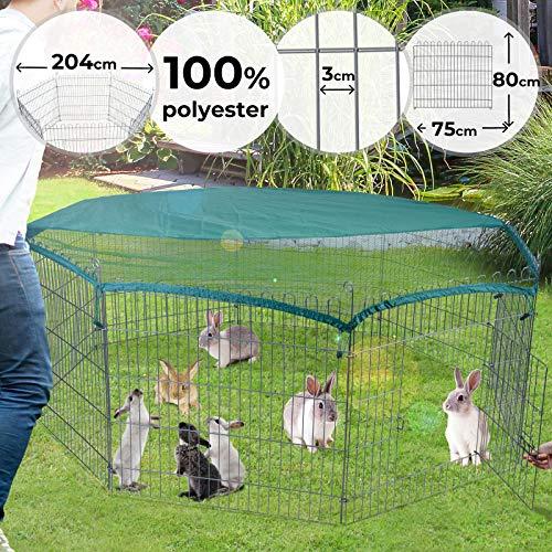 Freilaufgehege Ø 2 m | 8 Gitter, 80cm hoch mit Ausbruchsperre und Abdeckung | Welpenlaufstall, Hundelaufstall, Tierlaufstall für Kleintiere, Hühner, Katzen, Hamster, Hasen, Kaninchen, Meerschweinchen
