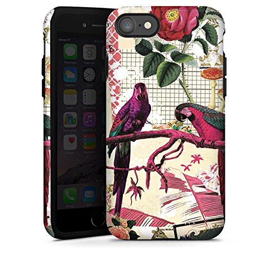 Apple iPhone X Silikon Hülle Case Schutzhülle Papagei Muster Collage Tough Case glänzend