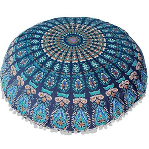 Funda Cojines, Xinan Cojín de meditación de bohemia redonda de grandes almohadas de piso de Mandala 80 * 80cm (Azúl)