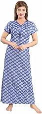 "Soulemo Beautiul Print Nighty/Night Gown/Nightwear/Nightdress Feeding Nighty with 13"" Long Zip. 740"