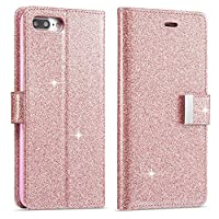 iPhone 7 Case, iPhone 8 Wallet Case, iPhone 7 Leather Cover, LCHULLE Luxury Shiny Sparkle Glitter Bling PU Leather [Magnetic Closure][Metal Buckle] Flip Folio Kickstand Wallet Case with 5 Card Slots-Rose Gold