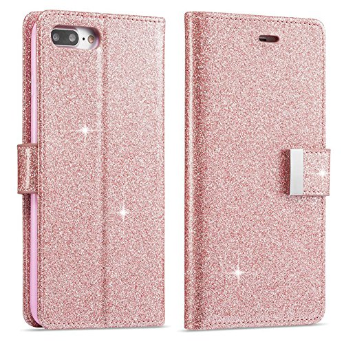 Price comparison product image For iPhone 8 Wallet Case,  iPhone 7 Leather Cover,  Luxury Shiny Sparkle Glitter Bling PU Leather [Magnetic Closure][Metal Buckle] Flip Kickstand Wallet Case with 5 Card Slots-Rose Gold