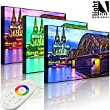 Leuchtbild LED Leinwandbild mit einstellbarer Leuchtfarbe - Bild mit Beleuchtung (Hintergrundbeleuchtung) - Wunderbare Hohenzollernbrücke bei Nacht - 60 x 40 cm - front lighted - MADE IN GERMANY