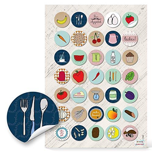 70 Stück kleine runde bunte Kräuter Obst Gemüse Sticker Aufkleber Etiketten 3 cm ESSEN UND KOCHEN zum Dekorieren Verschönern von Rezepten Küche Kochbüchern Gläser Rezeptbüchern retro Design