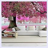 BHXINGMU Benutzerdefinierte Foto Tapeten 3D Romantische Kirschbaum Tv Hintergrund Home Wallpaper Decor Wohnzimmer Sofa Wandbild Tapete 170Cm(H)×220Cm(W)