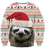 Idgreatim Herren Fashion Graphic Weihnachten Weihnachtsmann Hund Pullover Langarm Hässliche Weihnachten Sweatshirts L