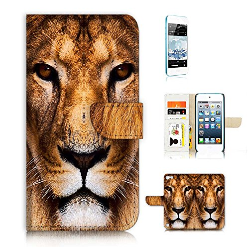 (für iPod Touch 5/iTouch 5) Flip Wallet Case Cover und Displayschutzfolie Bundle a20014 Lion Face