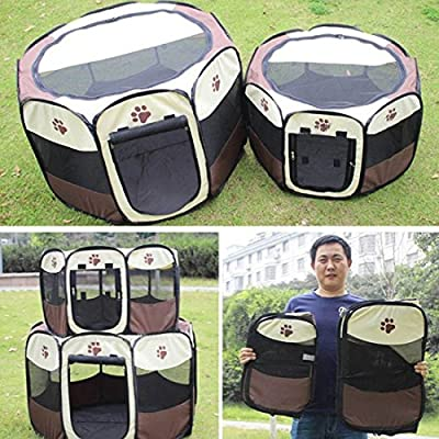 Beautylife77 Pet Fence Dog Kennel Pet Fence Puppy Soft Pet Bed Folding Crate