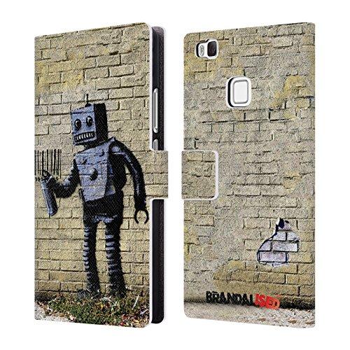 Head case designs ufficiale brandalised robot banksy arte tag di strada cover a portafoglio in pelle per huawei p9 lite/g9 lite