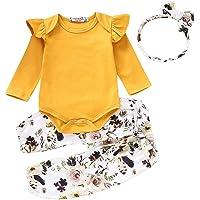 L&ieserram Abito Completo con Punto Fiore per Bambina neonata di Tre Pezzi a Top Maglietta Pagliaccetto, Pantalone e…