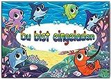 Einladungskarten Kindergeburtstag Motiv: Fische die Unterwasser im Meer schwimmen - 8 Stück Set Fisch Schwimmbad schwimmen Poolparty Aquarium