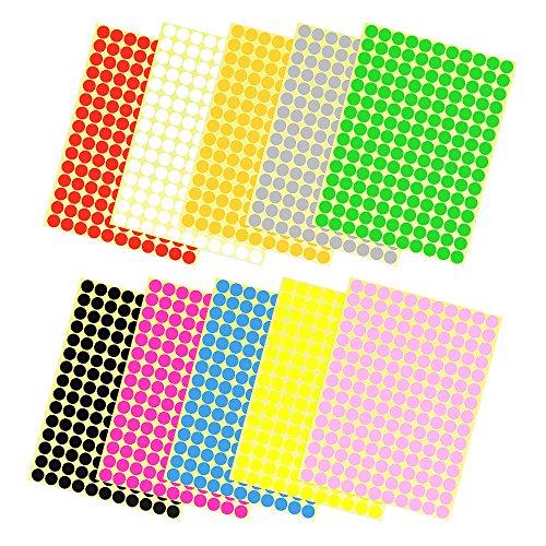 [10 Blätter] JTDEAL Punkt Aufkleber, Klebepunkte, Markierungspunkte, Runde Punkt Etiketten für Buch, Notizzettel,10 Farben, 1650 Punkt, 10mm Durchmesser