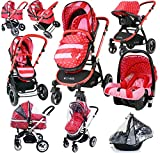 i-Safe System - Bow Dots Trio Travel System Pram & Luxury Stroller 3
