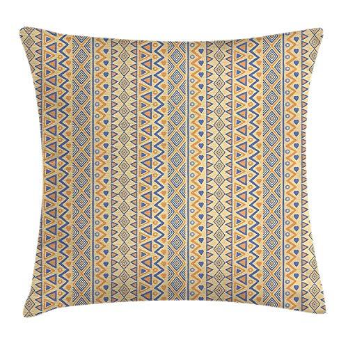 Daisylove Kissenbezug, prähistorische Streifen, Indianer-Form, Indie Ritual Jagd, Aborigine, dekorativer quadratischer Akzent, 45 cm, Gelb/Blau