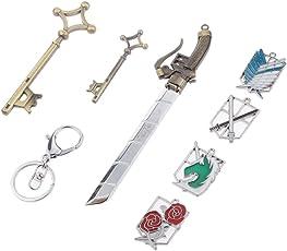 Phenovo Anime Attack On Titan Shingeki no Kyojin Badge Keyring Pendant Key Sword Set