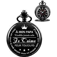 ManChDa Montre De Poche à Papa, Vintage Steampunk Gravé Montres De Poche avec Chaîne pour Hommes, Fête des Pères, des…
