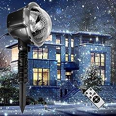 Idea Regalo - Decorazioni natalizie. Proiettore LED di Halloween. Lampade del paesaggio del riflettore rotante delle precipitazioni nevose bianche dei fiocchi di neve. Faretto impermeabile IP65. Giardino interno ed esterno. Illuminazione decorativa di arena per la festa di compleanno