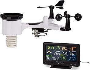 Waldbeck Huygens Profi-Wetterstation • 6-in-1 • 6 Messungen auf einen Blick • Farbdisplay • Wetterwarnungen • Live-Wetterdaten • punktgenaue Angaben • LED-Licht • WiFi • App-kompatibel • schwarz-weiß