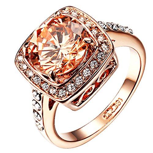 Yoursfs Frauen Ringe für Hochzeit Champaign Österreichischen Kristall Kleid Schmuck für Damen/Frauen & 18K Rosegold überzogene Ringe Valentinstage Geschenk