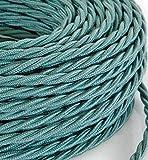 MeToo Design – Fil électrique tressé, style vintage, avec revêtement en tissu coloré, section 3 x 0,75,pour lustres, lampes, abat-jours, design - Vert sauge Produit fabriqué en Italie.
