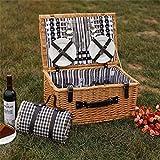SHOUNALAIN Outdoor Willow Picknick-Körbe Handgefertigte Familie Vintage Rattan Picknickkorb für 4 Personen Freunde Geschenk Picknickmand mit Picknick Mat