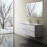 BTH: 120x48x47 cm Design Badmöbelset Vanessa120, in Weiß Hochglanz, bestehend aus Doppelwaschbecken und Waschbeckenunterschrank mit 4 Schubladen